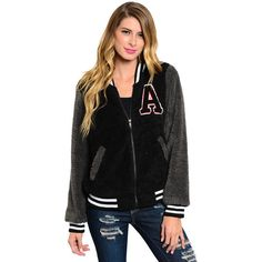 Shop The Trends Women's Long Sleeve Fuzzy Fur Varsity Jacket ($40) ❤ liked on Polyvore featuring outerwear, jackets, black, black fur jacket, patch jacket, black varsity jacket, varsity jacket and letterman jackets