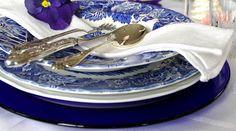 Blue table setting.