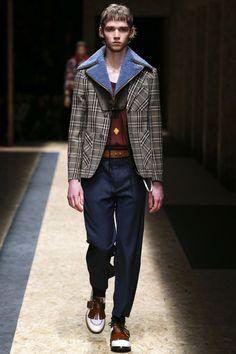 NOTE/IDEA : jacket, plaid placement -- Prada Fall 2016 Menswear Fashion Show