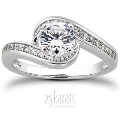 Bypass Shank Pave Setting Diamond Bridal Ring (0.24 t.c.w.)