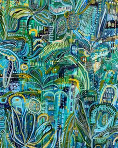 Cool Blue Tropics - Diptych by Carley Bourne Large Artwork, Floral Artwork, Large Painting, Abstract Nature, Abstract Art, Artist Art, Artist Painting, Bohemian Art, Buy Art Online