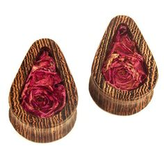 Teardrop Plugs From Wenge Wood With Rose Flowers 20mm by Plugswood