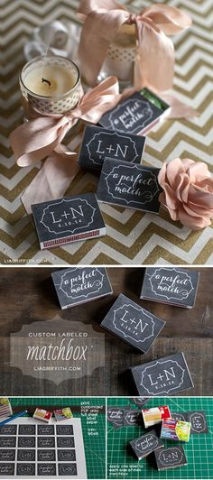 Simple, Easy and Cheap DIY Wedding Favors |  Custom Labeled Matchbox by DIY Ready at http://diyready.com/24-diy-wedding-favor-ideas/