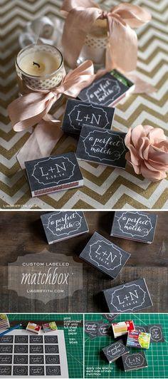 Simple, Easy and Cheap DIY Wedding Favors |  Custom Labeled Matchbox by DIY Ready at http://diyready.com/24-diy-wedding-favor-ideas/