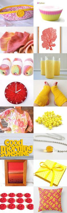 Summer fun. by Yelena C on Etsy-- #etsy #treasury #pink #yellow #summer #basket #picnic #basket #moses #basket #socks #clock #blouse Pinned with TreasuryPin.com