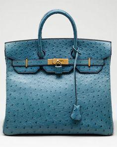 Hermes Birkin in Blue Jean Ostrich...