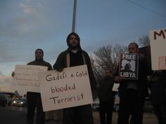 """Gadafi is a cold blooded terrorist"" (Photo: Eli Bell)"