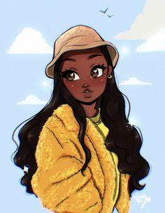 Black Cartoon Characters, Black Girl Cartoon, Cartoon Girl Drawing, Cartoon Drawings, Black Art Painting, Black Artwork, Black Love Art, Black Girl Art, Pretty Art