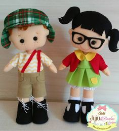 Chaves e Chiquinha Diy Crafts For Gifts, Crafts To Make And Sell, Felt Crafts, Felt Doll Patterns, Stuffed Toys Patterns, Felt Dolls, Paper Dolls, Fun Projects, Sewing Projects