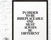 Art Digital Print Poster Coco Chanel Quote by LifeAndStylePrint