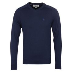 Mens Navy Penguin Dark Sapphire Esquire V-Neck Sweater via Polyvore featuring men's fashion and men's clothing