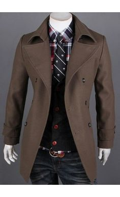 Mens modern slim fit double breasted woolen jacket in Coffee (dark brown) - Apostolic Clothing