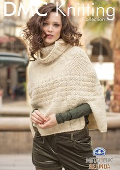 Roll Neck Poncho in DMC Knitting Collection Metal Chic Belinda