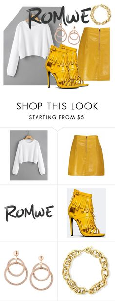 """""""RomWe Gold"""" by jojo299u ❤ liked on Polyvore featuring Privileged and BERRICLE"""