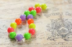 Girls Chunky Necklace Neon Colors Bubble by MilestoLondonDesigns
