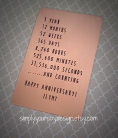 Copper Wallet Card Insert1st Anniversary by SimplyYoursByDesign