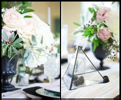 Ivory, White Rose and Blush Pink Wedding Centerpiece with Black Vase and Modern Geometric Shaped Triangle Pyramid with Blackberries