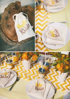 Grey and Yellow...  Hello Kiddo baby shower idea.   from link: http://blog.hwtm.com/2012/01/sunny-playful-hello-kiddo-baby-shower/