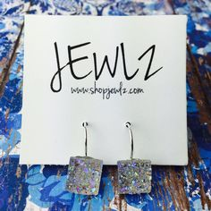 12MM IRIDESCENT SQUARE FRENCH LEVER BACK DANGLES IN SILVER