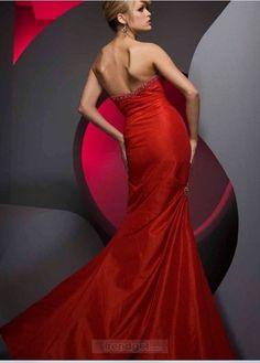 Vintage Mermaid Sweetheart Floor-length Taffeta Red Prom Dresses - $164.99 - Trendget.com