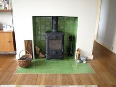 Flush tiled hearth Woodburner installed