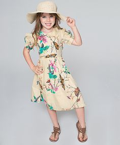 Faded Yellow Butterfly Peasant Dress - Toddler & Girls