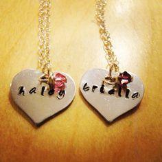 Little girls hand stamped necklaces  Www.facebook.com/lastingimpressionshandstampedjewelry #lastingimpressions #handstampedjewelry