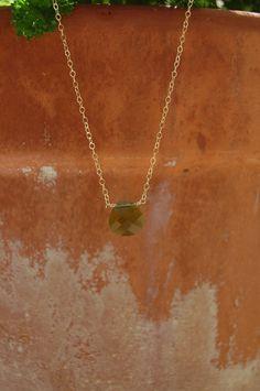 olivine colored briolette pendant necklace