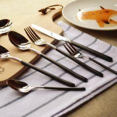 Knife And Fork, Steak Knives, Coffee Spoon, Cutlery, Black Gold, Handle, Stainless Steel, Store, Tableware