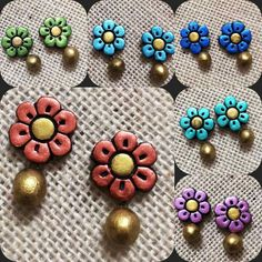 Trendy ear flower studs colorful for matching your daily outfit 3
