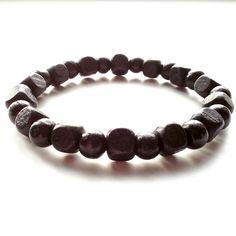 men's shamballa beaded stretch bracelet handmade jewelry gift BLACK WOOD beads #Handmade #Beaded #FormalandCasual