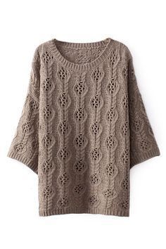 Cropped-Out Cropped Brown Jumper Hollow-out Cropped Brown Jumper Pull confortable Knitting Designs, Knitting Patterns Free, Knit Patterns, Knitting Projects, Latest Street Fashion, Latest Fashion For Women, Crochet Shirt, Knit Crochet, Lace Knitting