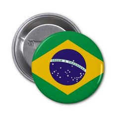 Brazil flag Brazilian button