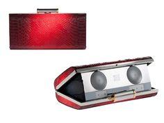 --Red Snakeskin Audio Clutch