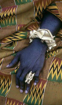 Asante regional Chief Kwaku Addai's ornate bracelet and gold finger-ring. Kumasi, Ghana. ca. 1970 ©Eliot Elisofon