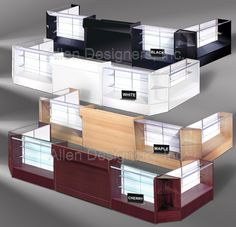 Low-Price Fast-Ship Showcases and Counters - Complete 66 inch x 204 inch x 88 inch U-Shaped Showcase Counter Set Merchandising Displays, Store Displays, Reception Counter Design, Jewelry Store Design, Exhibition Booth Design, Stationery Store, Glass Shelves, Coffee Shop, Interior