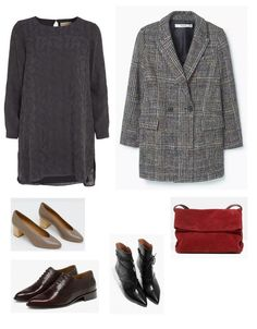 Time for Fashion » Style Consultancy. Navy dress+taupe midi heeled pumps or chocolate brown broguesor black heeled boots+grey checked coat+red shoulder bag. Winter Dressy Casual Outfit 2017