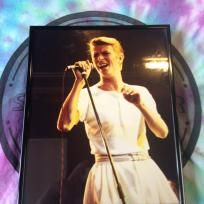 Amazing 8 x 10 of David Bowie singing framed.