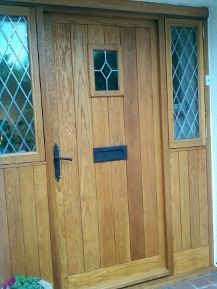 Bespoke oak Door Assembly with half glazed side panels