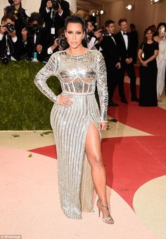 A 10:Kardashian made the biggest fashion splash of the night when she walked onto the red carpet for the Manus x Machina: Fashion In An Age Of Technology Costume Institute Gala at Metropolitan Museum of Art in May