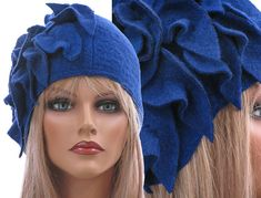 Artsy boho womens winter hat cap, woolen hat, lagenlook hat with leaves / soft boiled wool in cobalt blue / size M - stretched up to L-XL