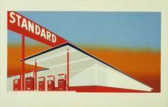 "Edward Ruscha (American, born 1937) Standard Station  Date: 1966 Medium: Screenprint Dimensions: composition: 19 5/8 x 36 15/16"" (49.6 x 93.8 cm); sheet: 25 5/8 x 39 15/16"" (65.1 x 101.5 cm) Publisher: Audrey Sabol, Villanova, Penn. Printer: Art Krebs Screen Studio, Los Angeles Edition: 50 Credit Line: John B. Turner Fund MoMA Number: 1386.1968 Copyright: © 2014 Edward Ruscha"