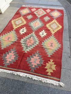 Bohemian Kilim RugHandmade Turkish Vintage Kilim Rug | Etsy Art Pass, Kilim Rugs, Fiber Art, Craftsman, Persian, Bohemian Rug, Hand Weaving, Traditional, Prints