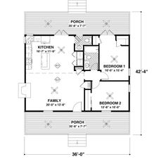 Country Style House Plans   953 Square Foot Home , 1 Story, 2 Bedroom And