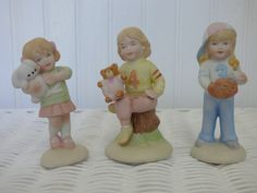 Girls Growing Up - Trio of Vintage Goodness - Enesco 1983 - No Damages - Set or Individual Purchase - Clean - Sweet - 3 and Half Inches Tall by ChicAvantGarde on Etsy