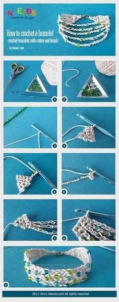 how to crochet a bracelet - crochet bracelets with cotton and beads crochet bracelet Love Crochet, Bead Crochet, Diy Crochet, Crochet Crafts, Crochet Projects, Cotton Crochet, Diy Crafts, Jewelry Clasps, Beaded Jewelry
