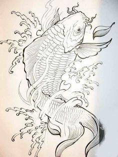 Japanese Drawings, Japanese Artwork, Japanese Tattoo Art, Japanese Koi, Japanese Tattoo Designs, Pez Koi Tattoo, Koi Dragon Tattoo, Carp Tattoo, Koi Fish Drawing