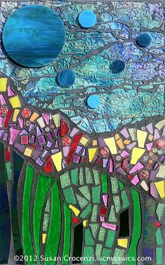 Cosmic Garden Mosaic Wall-hanging~Stained and tempered glass, millefiore~by artist Susan Crocenzi