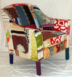 Patchwork chair -  add a nice throw and you have a good reading chair.