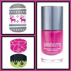 Jamberry 'Sweet Sangria' lacquer with 'Feeling Festive' and 'Webs & Monsters' https://jleadbetter.jamberrynails.net